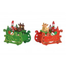 Carillon Carro di Babbo Natale in legno, rosso, ve
