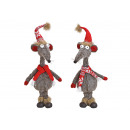 wholesale Gifts & Stationery: Mouse, Christmas mouse made of textile gray 2-fold