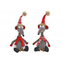 Mouse, Christmas mouse made of textile gray 2-fold