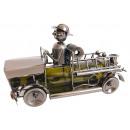 Fekete fémből készült palacktartó tűzoltóautó (B