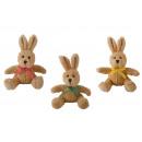 Coniglio con fiocco in peluche beige 3- volte asso