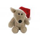 Mouse natalizio con cappello in peluche beige (H)