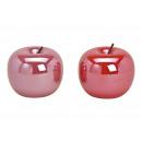 Großhandel Kunstblumen: Apfel aus Keramik Pink/Rot, 2-fach sortiert, (B/H/