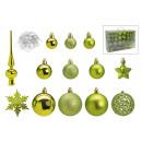 Christmas ball set made of plastic green 111er set