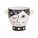 Ceramic face vase black, white (W / H / D) 17x