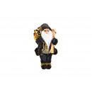 Babbo Natale realizzato in tessuto, plastica nera,