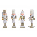 wholesale Home & Living: Nutcracker with glitter made of wood gold 3-assort