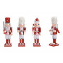 Nutcracker with glitter made of wood red 3-fold so