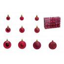 Set palline di Natale in plastica Bordeaux 100 pez