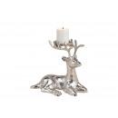 Portacandele cervo in metallo argento (L / A / P)