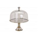 Alzata per torta con campana in vetro in metallo a