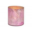 Lanterna in vetro rosa / rosa (L / A / P) 8x10x8cm