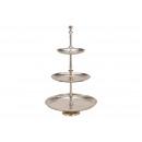 Großhandel Dekoration: Etagere mit 3 Ebenen aus Alu Silber (H) 52cm ...