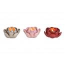 Photophore fleur en cul 3 fois de couleur céramiqu