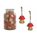 wholesale Decoration: Hanger mushroom made of wood red (H) 5cm 40 pieces