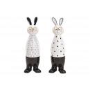 Bunny with glasses made of ceramic white, black do