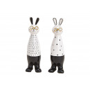 Bunny with glasses made of ceramic white, black do