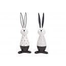 Ceramic rabbit white, black 2- times assorted , (B
