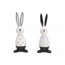 Großhandel Figuren & Skulpturen: Hase aus Keramik Weiß, schwarz 2-fach sortiert, (B