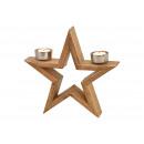Portacandele stella in legno marrone (L / H / P) 2