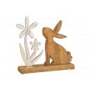 Display Nyuszi fából készült virággal, fémbarna,