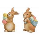 Coniglietto con uova di Pasqua di argilla 2- volte