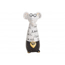 Elephant with glasses made of ceramic white (W / H