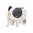 Elefante vaso di fiori in ceramica bianca (L / H /