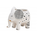 Ceramic elephant flower pot white (W / H / D) 12x9