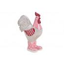 Gallo in ceramica rosa / rosa (L / A / P) 12x16x7c