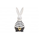 Bunny with heart pendant made of ceramic black, wh