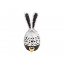 Bunny with glasses, ceramic heart pendant, white,