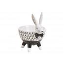 Ceramic bowl rabbit white, black (W / H / D) 16x1