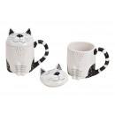 Bögre macska fedéllel kerámia fehér, fekete,
