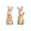 Großhandel Puppen & Plüsch: Hase aus Keramik Beige 2-fach sortiert, (B/H/T) 4x