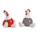 Ceramic Chicken Gray, Beige 2- times assorted , (W