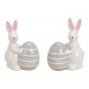 Coniglietto con uovo di Pasqua in ceramica bianco