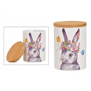 Storage jar rabbit decor with a bamboo lid made of