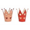 Decorazione cuore corona in metallo rosa / rosa 2