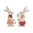 Coniglio in legno rosa 2- volte assortito , (L / A