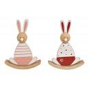 Coniglietto a dondolo in legno rosa / rosa 2- volt