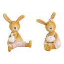 Sitting bunny made of poly pink / pink 2- times as