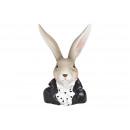 Bunny head made of poly black (W / H / D) 6x12x7cm