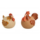 Gallo, gallina in ceramica marrone 2- volte assort