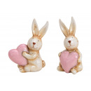 wholesale Dolls &Plush: Bunny with ceramic heart beige 2- times assorted ,