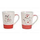 Mug chat avec décor coeur en porcelaine blanche 2-