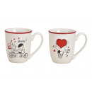 wholesale Household & Kitchen: Mug pair with heart decor made of porcelain white