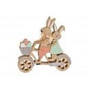 Coppia di coniglietti su una bicicletta in legno,