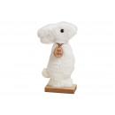 Espositore Peluche coniglio su base in legno bianc