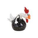 Fekete kerámia kakas (Szé / Ma / Mé) 15x14x7cm